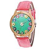 Hshi Women's Fashion Casual Quartz Watch Creative Billiards Pattern Leather Strap Analog Round Wrist Watch(Pink)