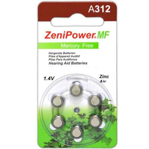 ZeniPower Mercury Free 1.4 Volt Zinc Air Hearing Aid Batteries (120 batteries)