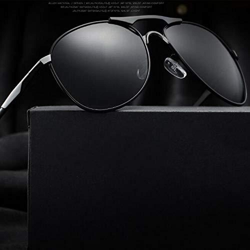 (FengNiaoo Men's Sun Polarized Mirror Driving Mirror Sunglasses Men's Outdoor Driver Driving Mirror - Black Silver Frame - Black Grey Lens)