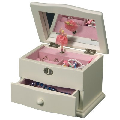 Mele & Co. Marianne Girl's Wooden Musical Ballerina Jewelry Box in Ivory