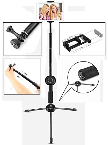 grando selfie stick 2 in 1 clip extendable monopod with bluetooth remote and tripod stand for. Black Bedroom Furniture Sets. Home Design Ideas