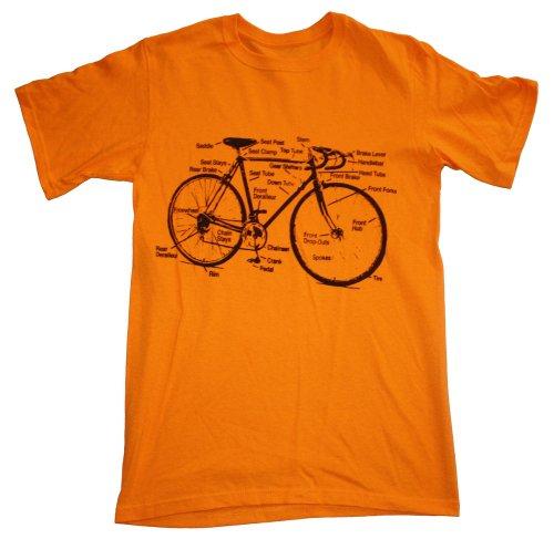 Happy Family Retro Racing Bike Diagram Mens T-Shirt - X-Large - Gold ()