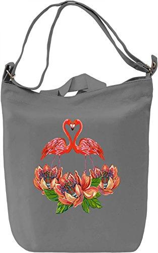 Flamingo Borsa Giornaliera Canvas Canvas Day Bag| 100% Premium Cotton Canvas| DTG Printing|