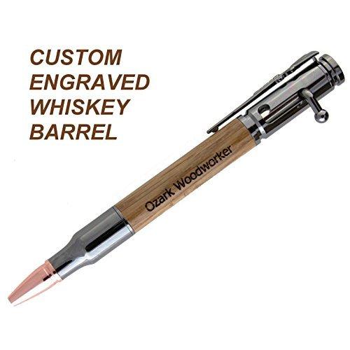 Whiskey Barrel Wood Custom Engraved 30 Caliber Bolt Action Ballpoint Pen Handmade Jack Daniel's, Maker's Mark, Wild Turkey, Jim Beam