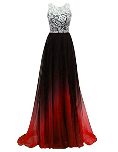 Women's Lace Ombre Long Prom Dresses Formal Evening Party Gowns Red 2