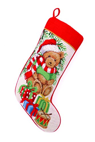 Peking Handicraft Teddy Bear Needlepoint Stocking (Teddy Bear Christmas Stocking)