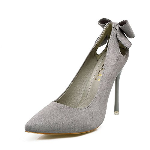 AdeeSu Womens Bows Spikes Stilettos Pointed-Toe Gray Suede Pumps Shoes - 4.5 B(M) US