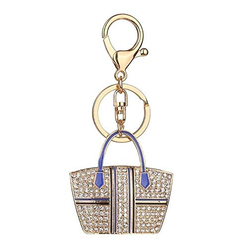 FidgetGear Crystal Rhinestone Handbag Charm Pendant Keychain Bag Keyring Key Chain heart 18# Striped BagBlue