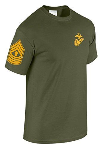 Acecard US Marine Corps Master Gunnery Sergeant T-Shirt w/Chevron on Sleeve (X-Large, Military Green) - Marine Corps Gunnery