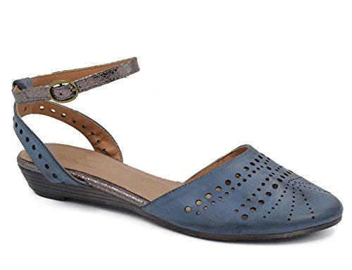MaxMuxun Womens Ankle Strap Slingback Cage Closed Toe Blue Flat Sandals Size 9