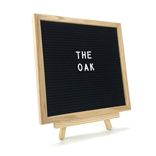 """Cheap Black Felt Letter Board 10"""" x 10"""" with Tripod Stand and Wall Mount, Oak Wood Frame and Felt Backing, with 346 Letters, Numbers, Symbols and Emojis, and Canvas Storing Bag by Tamarack Trading Co for cheap"""