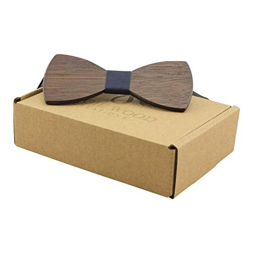 Large Round Dark Sandalwood Bow Tie With Blue Fabric