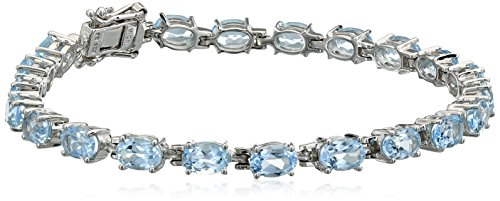 Jewelry Topaz Box Oval - Sky Blue Topaz Oval Cut Tennis Bracelet in Sterling Silver (11.5 cttw)