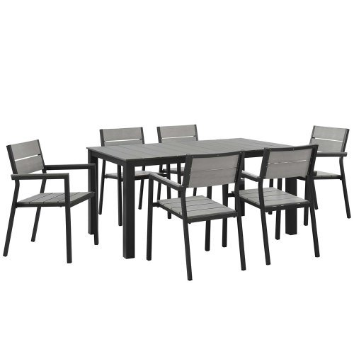 Modway Maine 7 Piece Outdoor Patio Dining Set, Brown Gray (7 Piece Slat)