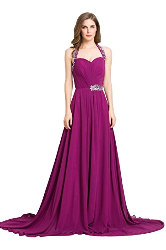 mit Emily Schleppe Abendkleid formale Sweep schulterfreies Beauty lange Rüschen Violett 01qOaadw
