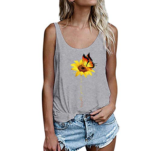 Women Camisole Summer Tank Top, LIM&Shop  Casual Plus Size Backless Sunflower Off Shoulder T-Shirt Swing Shirt Vest Gray