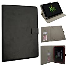 """Xtra-Funky Exclusive Large Luxury Universal Pu Leather Folio Case Cover Fits Most 7.9""""- 11"""" Devices Such as iPad 2/3/4 & Air, Samsung Tab 3 10.1, Sony, Nook, Kobo, Asus, Acer, Archos, Bush, HP, Lenova and much more - BLACK"""