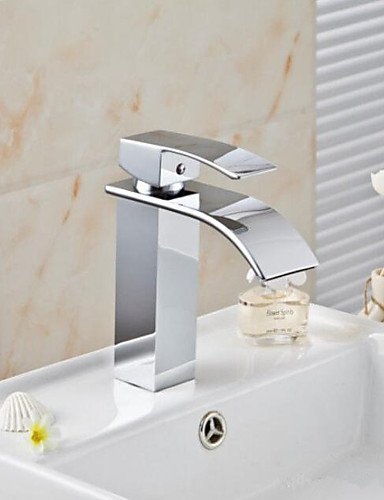dern Waterfall Spout Basin Faucet Single Handle Mixer Tap Deck Mounted (Mounted Basin Spout)