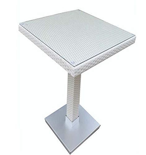 Grupo SDM Mesa Andy, Alta, Aluminio, ratán Blanco Beige, 60x60 cms ...