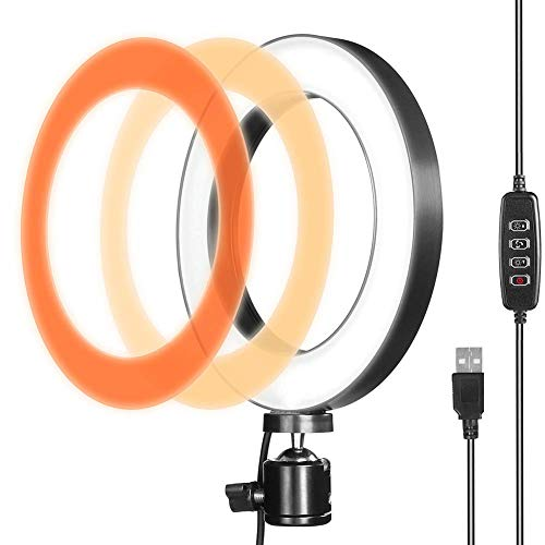 LED Ring Light for Live Streaming & YouTube Video Shooting, 6 inches Desktop Makeup Ring Light Dimmable for Photography Lighting, Smartphone, Studio with 3 Light Mode & 10 Brightness Level