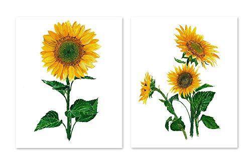 Sunflower Picture (Sunflower art #A050 - set of 2 prints(8x10).Sunflower wall art. Sunflower painting.Sunflower artwork.Sunflower wall decor.Sunflower pictures.Flower wall art.Flower prints)