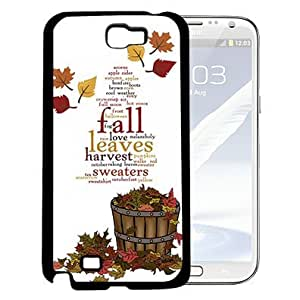 Autumn Love Falling Leaves Quote Hard Snap On cell Phone Case Cover (Samsung Galaxy Note II 2 N7100)