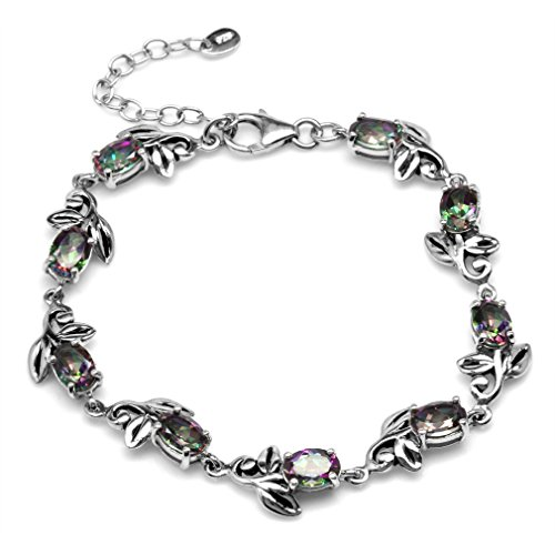 - 8.1ct. Mystic Fire Topaz 925 Sterling Silver Leaf Vintage Inspired 7-8.5 Inch Adjustable Bracelet