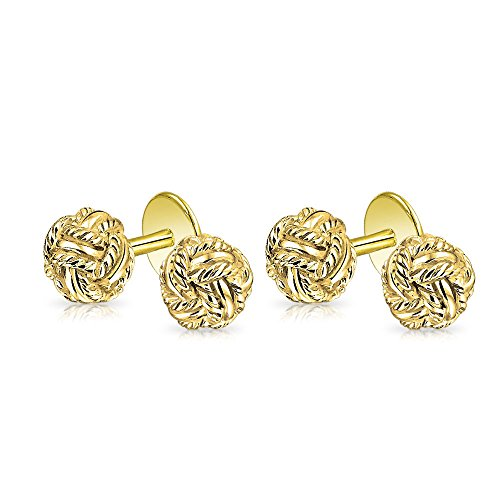 Bling Gold Plated 925 Sterling Silver Classic Double Woven Love Shirt Studs Set by Bling Jewelry