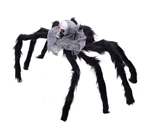 Spider Halloween Realistic Fake Spiders Araneid Decorated with Light Grey Veil (Homemade Pirate Halloween Props)