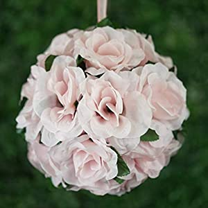 Tableclothsfactory 4 PCS Rose Pomander Silk Flower Balls for DIY Wedding Bouquets Centerpieces Arrangements Decorations Supplies - Blush 101