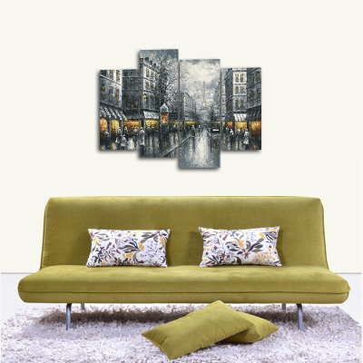 Wieco Art Paris Street Canvas Prints Wall Art By Black and White Europe City Buildings Oil Paintings Reproduction Picture for Home Decorations Large Modern 4 Panels Framed Giclee Cityscape Artwork
