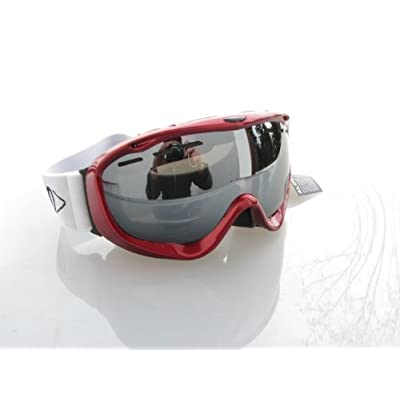 Alpland lunettes de ski lunettes de snowboard Spider rouge verres argentés miroir compatible avec casque convint aussi aux porteurs de lunettes avec pochette en microfibres