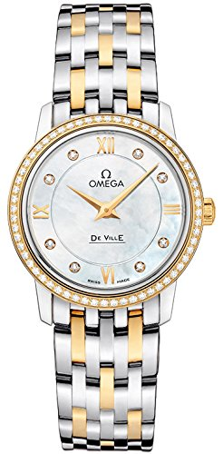 Omega Quartz Bracelet - OMEGA Women's Yellow Gold Bracelet & Case Swiss Quartz MOP Dial Analog Watch 424.25.27.60.55.001