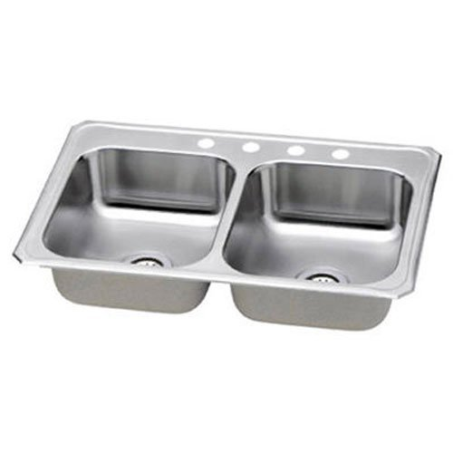 Elkay NBC33224 Neptune 33-by-22-by-7-Inch Double Bowl Kitchen Sink, Stainless Steel