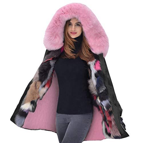 Aox Women's Sweet Winter Pink Fur Collar Button Close Plus Size Hood Coat Jacket (XL, ()