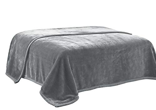 HIG Premium Thick Blanket with Double Layer Reversible Plush Raschel Blanket Gray Solid Color - Supersoft, Warm, Silky, Hypoallergenic, Fade Resistant in Queen Size (Queen, Gray) ()