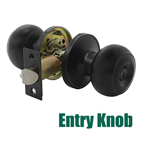 (Probrico Black Entry with Key Door Lockset Knobs Flat Ball Keyed Entrance Lock Knobs 1 Pack)