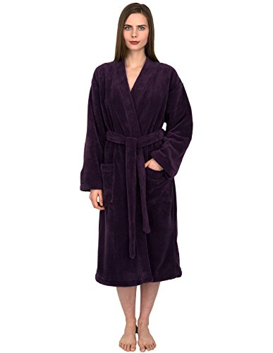 TowelSelections Women's Plush Robe Soft Fleece Kimono Bathrobe Medium/Large Wine Berry