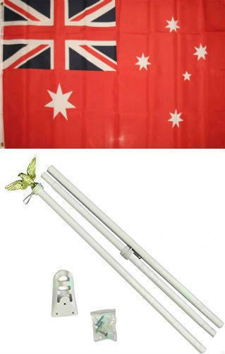 3x5 Australia Australian Red Ensign Flag White Pole Kit Set 3x5 BEST Garden Outdor Decor polyester material FLAG PREMIUM Vivid Color and UV Fade Resistant