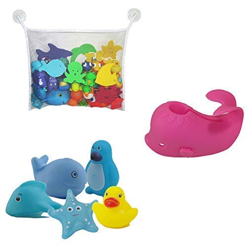 Aurelie Live Well Faucet Cover Baby (Pink Whale) & Bath Toy Organizer for Kids Bath Toys and Comes with 5 Bath Tub Squirts/Toys from Aurelie Live Well