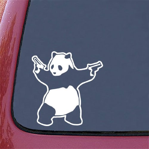 "Shooting Panda - Car Vinyl Decal Sticker - WHITE - (5.75""w x 6""h) Guns Panda"