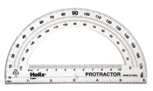Helix Crystal (Helix 180° Standard Protractor 6 Inch, Assorted Colors (18801))