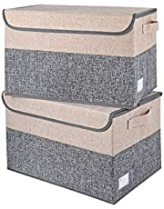Storage Bins 2 Pack Large Foldable with Lids Storage Box Fabric Baskets Cube Containers Organizers with Handles for Clothes Toys Books CD Home Bedroom Closet Living Room Office (Grey + Beige)
