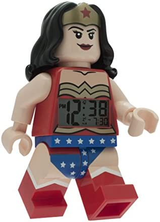 Lego DC Comics 9009877 Super Heroes Wonder Woman Kids Minifigure Light up Alarm Clock red Blue Plastic 9.5 inches Tall LCD Display boy Girl Official