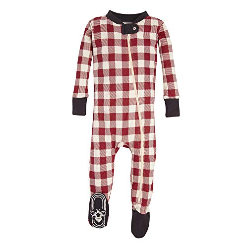 Burt's Bees Baby Baby 1-Pack Unisex Pajamas, Zip-Front Non-Slip Footed Sleeper PJs, Organic Cotton, Red Buffalo Check, 12 Months