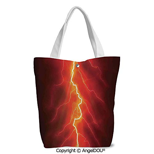 Women Canvas Tote Eco Reusable Bag Casual Bags Lightning Bolt Forked against Dar