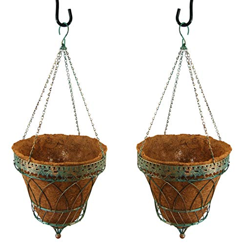 Parasol Hanging - Set of 2 Victorian Parasol Hanging Baskets w/Chains, Verdigris