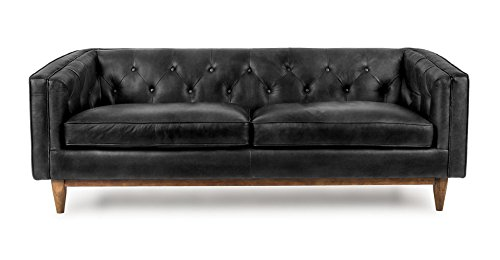 Amazon.com: Vintage Black Leather Mid-Century Modern Sofa | Alcott ...