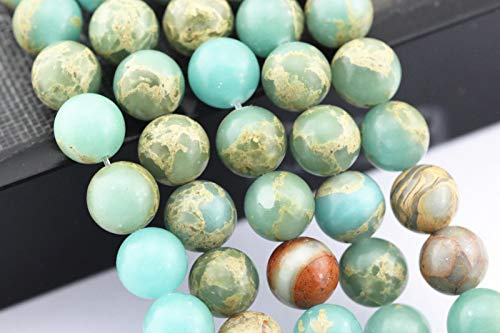 (Bead Jewelry Making Snake Skin Jasper Smooth Round Gemstone Loose Beads 8mm 15.5