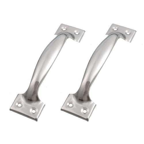 "SODIAL(R) 2 x Silver Tone Stainless Steel Pull Handles Grips 6"" for Windows Doors"